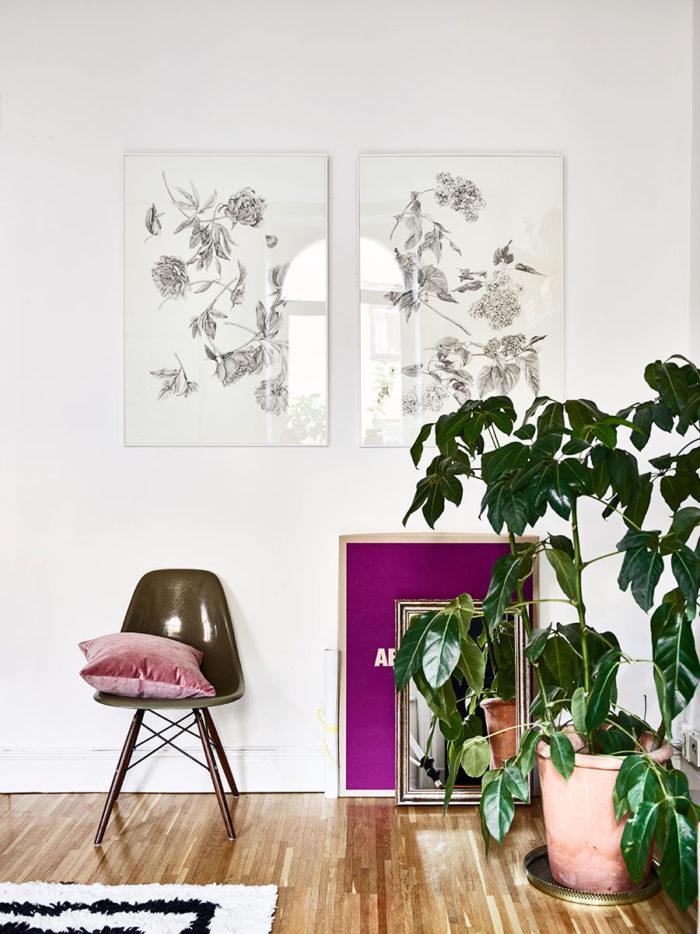 Illustrationer av Jonna Fransson, stolen är en Eames från 1950-talet.