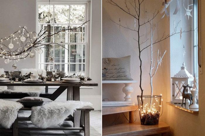 Inklädda grenar som dekoration över bord och i hinkar