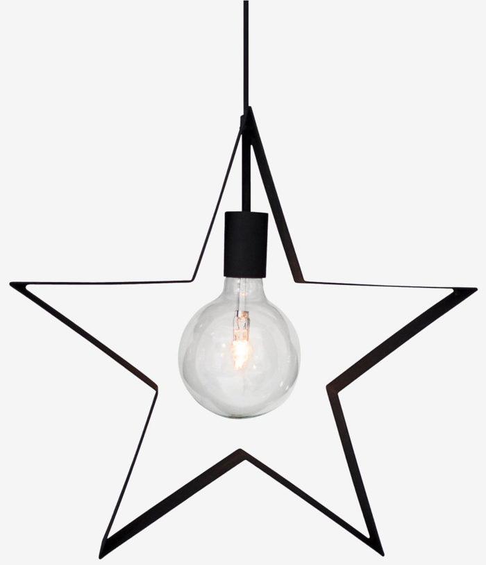 svart julstjärna i metall