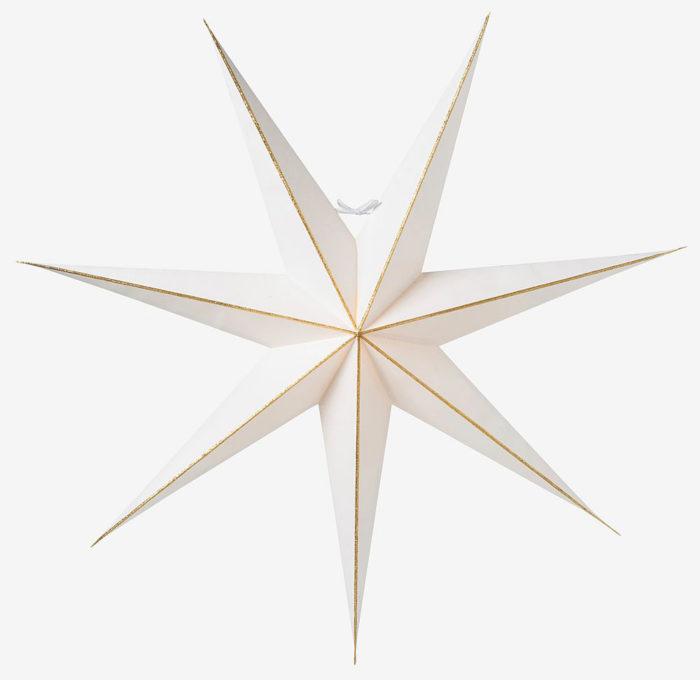 vit julstjärna fönster guld