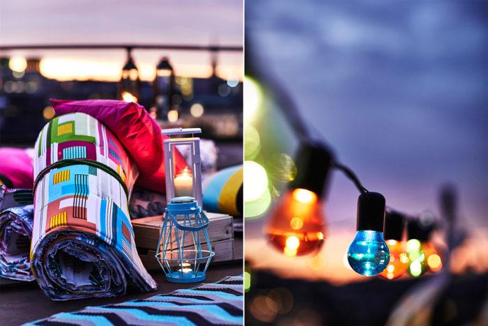 Picknickfilt och ljuslyktor, färgglad utomhusbelysning i form av ljusslinga med färgade lampor. Ikeas sommarnyheter 2018.