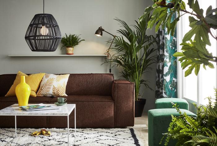 Brun soffa och gula kuddar. Gröna växter, palm, fikon och ormbunke. Jotex vår och sommar 2018.
