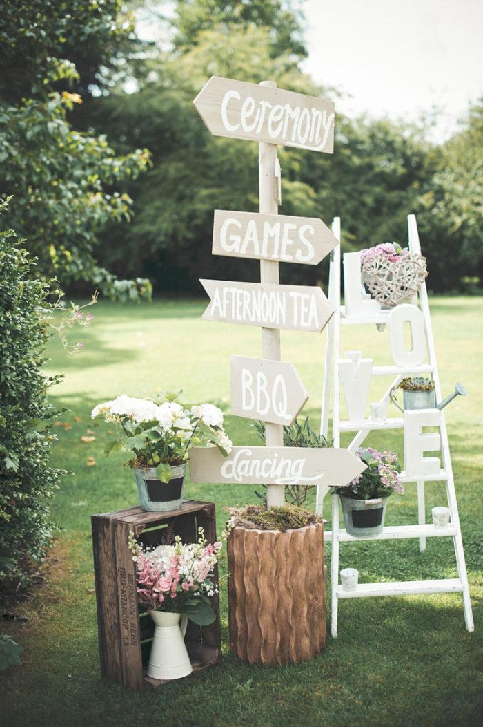 Skyltar i trädgården, bröllop utomhus, sommarbröllop.