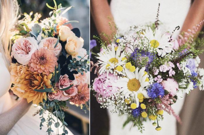 Brudbuketter, sommarbröllop, bohemiska buketter till bröllopet.