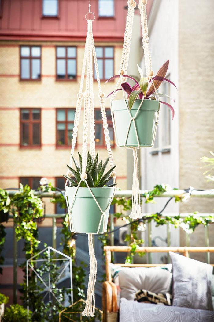 Ampel på balkongen med växter.