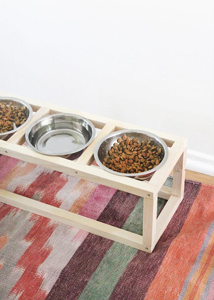 DIY matskålshållare för husdjur, hund, katt