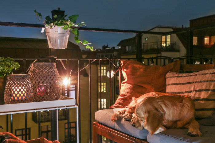 Scandinavian balcony night time with stringlights and plants.