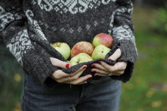 En del av Malin Perssons äppelskörd.