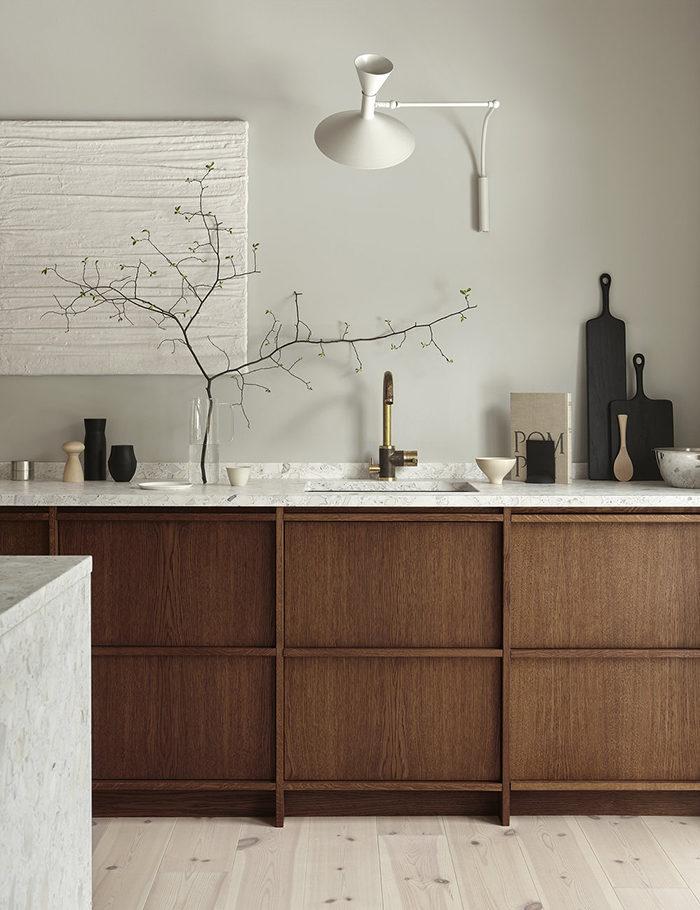 Terrazzo fungerar i köket både som bänkskiva och som köksö