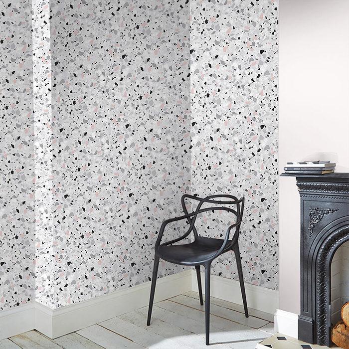 Låt din tapet inspireras av terrazzo-mönstret