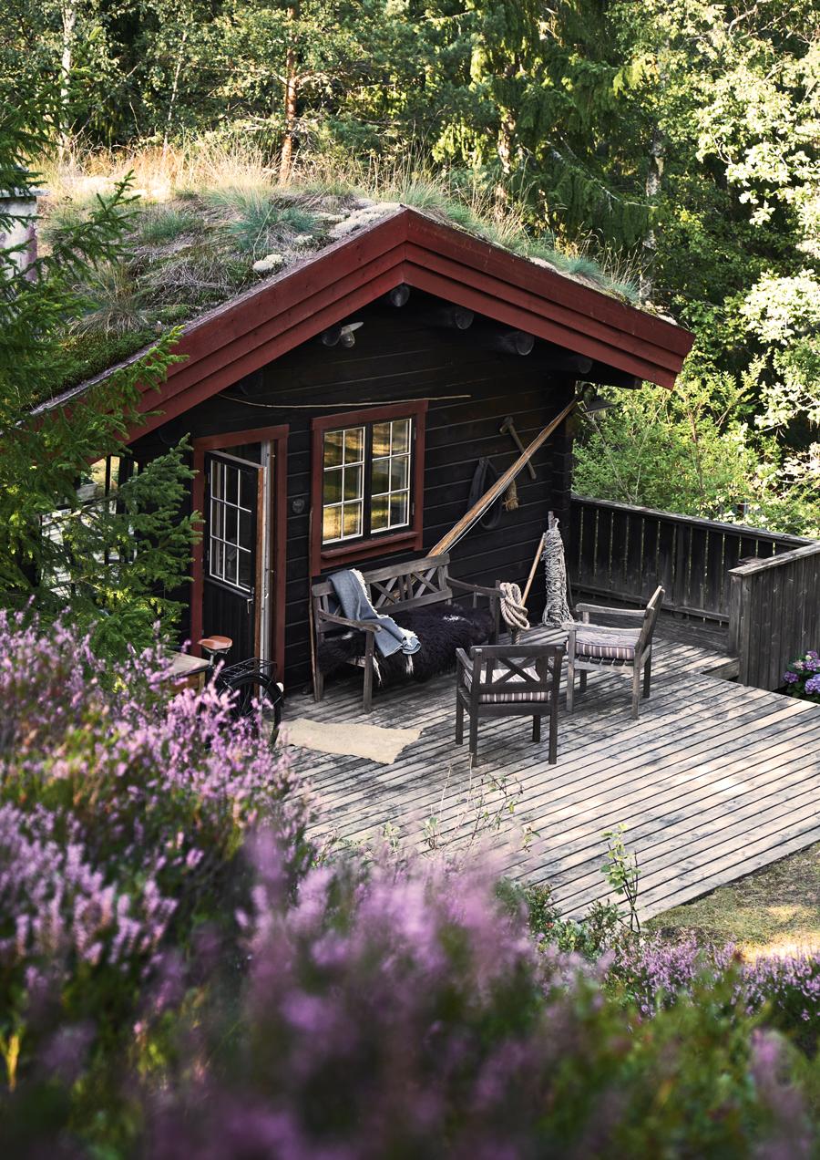 Emily och Christian Sonesons sommargömsle är en timmerstuga i norsk stil med vildvuxet sedumtak som ligger nästan helt kamouflerad i en grönskande sluttning på Dalarö.