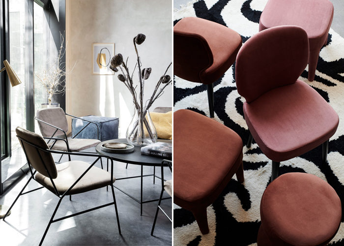 Sammetsstolar och puffar i dansk design