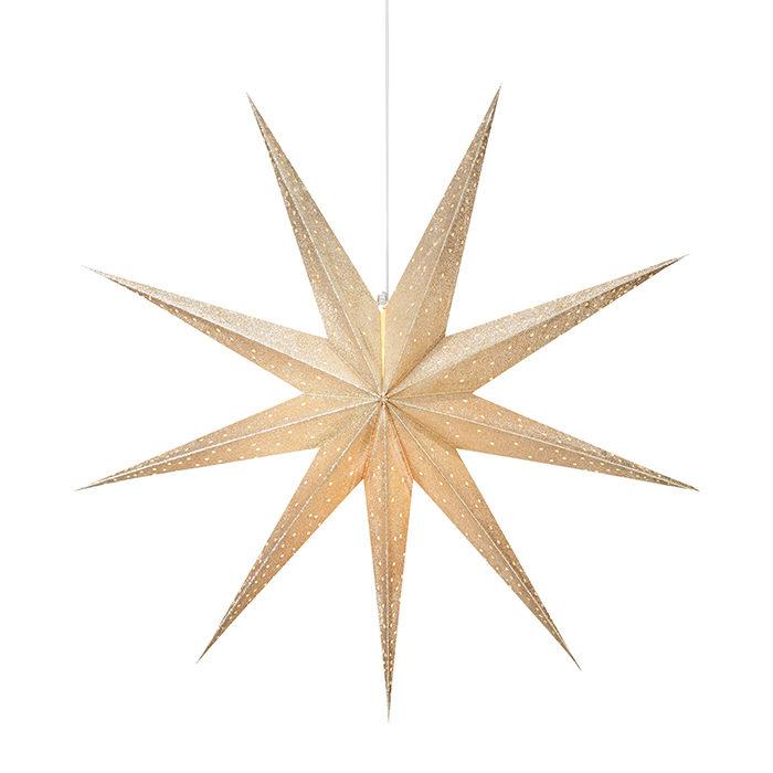 stor adventsstjärna i guld från åhléns