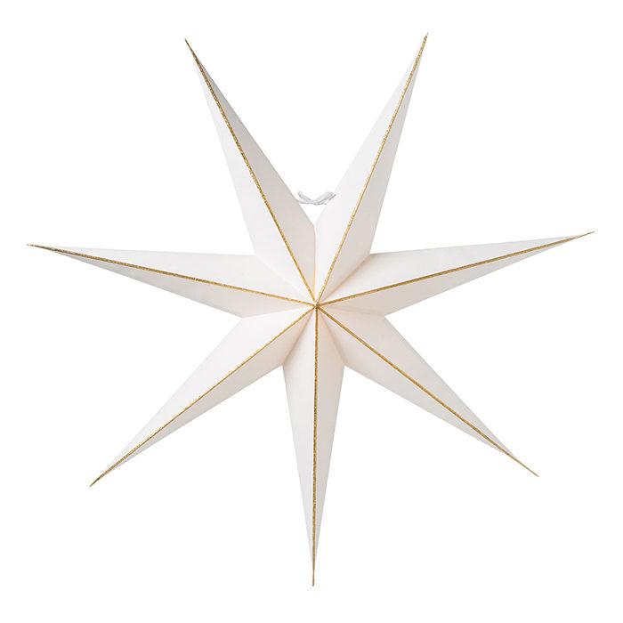 minimalistisk julstjärna i vitt och guld från watt & veke