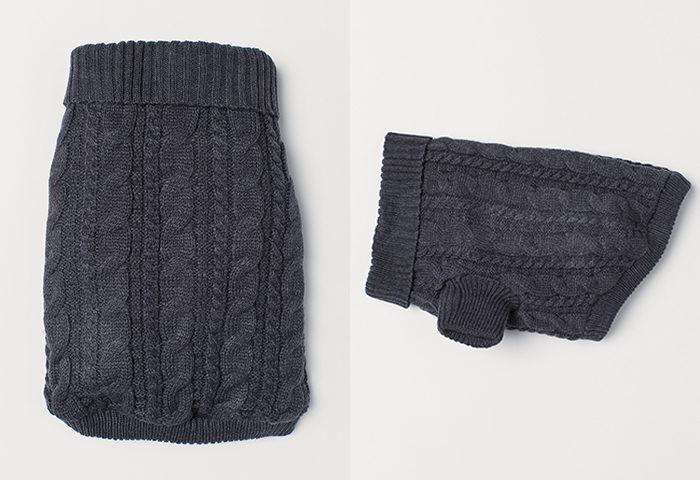 Stickad grå tröja till hunden från H&M