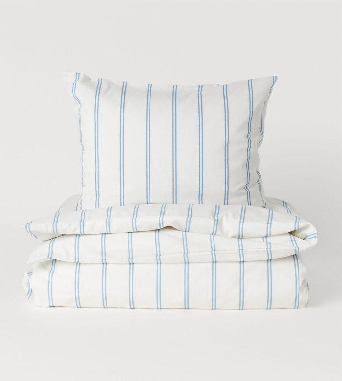 Juego de cama a rayas de moda de H&M home