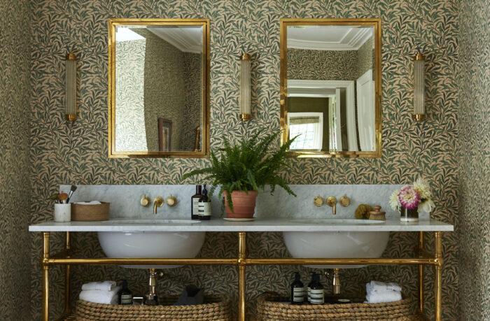 William Morris-tapet i badrum