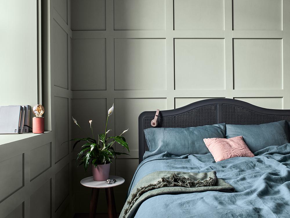 Nordsjös trendfärg Tranquil Dawn är en grågrön kulör.