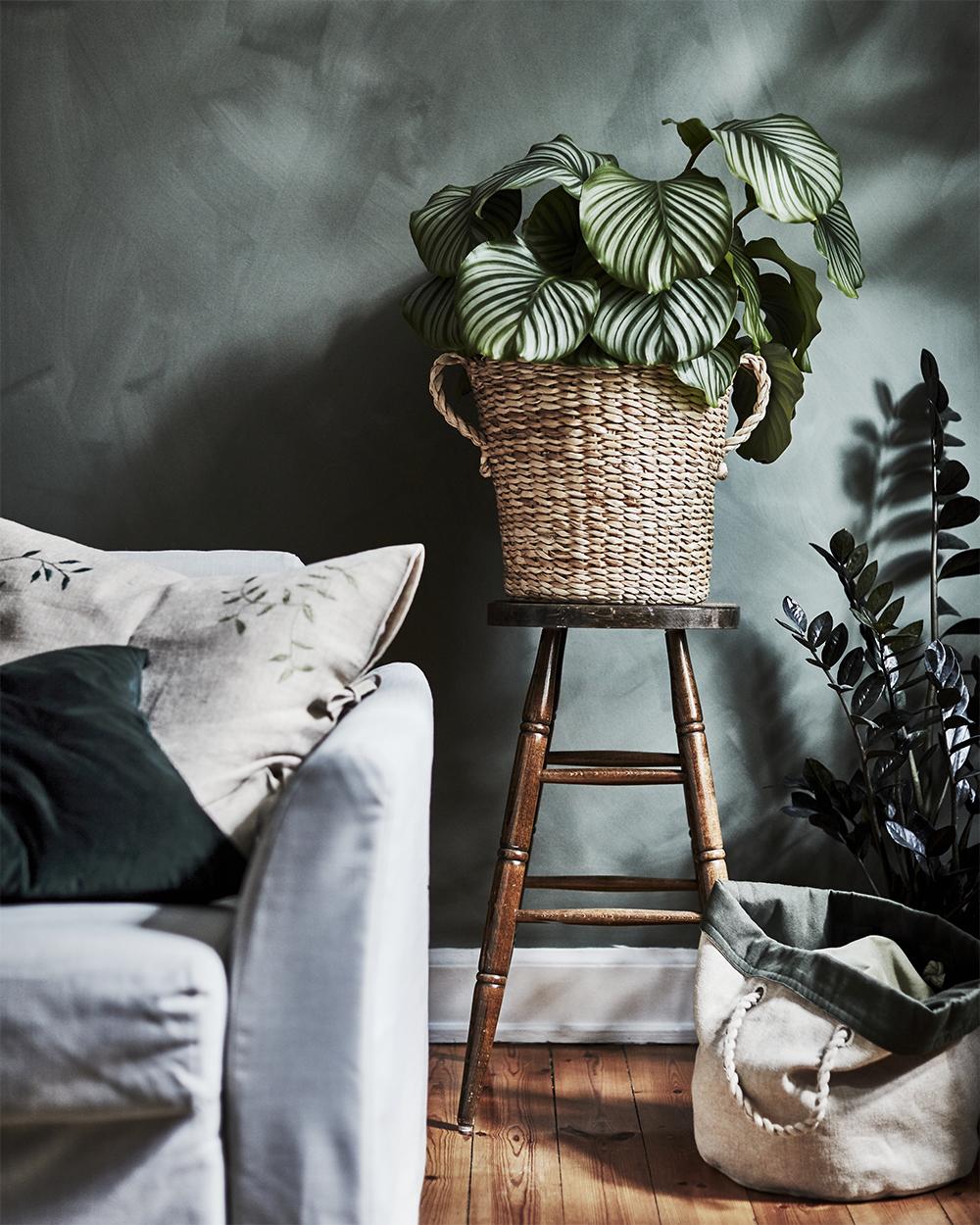 Stor kruka i flätad jute från Ikeas kollektion Botanisk
