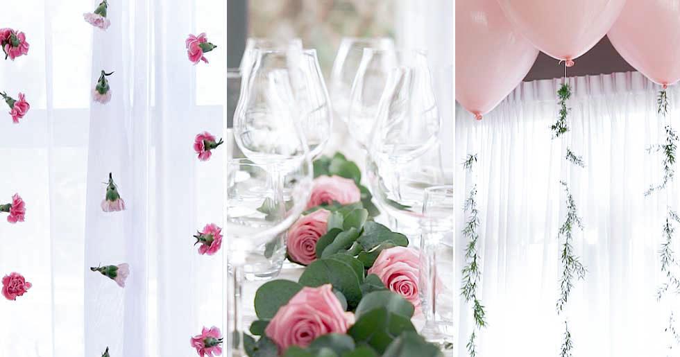 DIY: 3 vackra bröllopsdekorationer i grönt och rosa