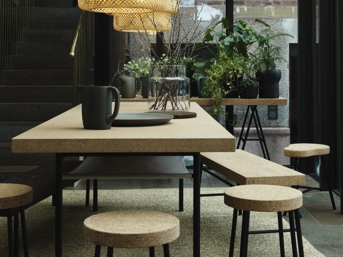 table and bench with cork top by studio ilse for ikea
