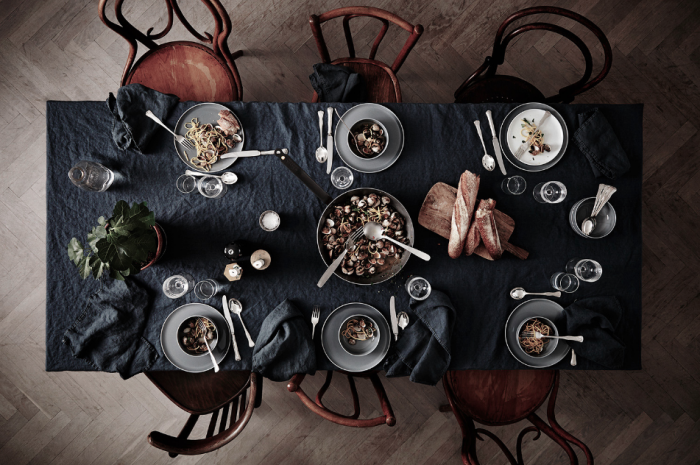 Dinner table with Thonet chairs styled by Lotta Agaton