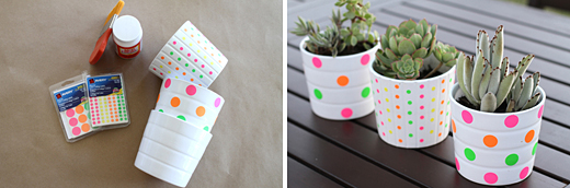 DIY Neon Polka Dot Pots by Andrea/For the Love of