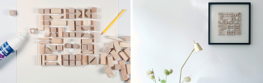 DIY art with wooden blocks, via Danish magazine Boligliv