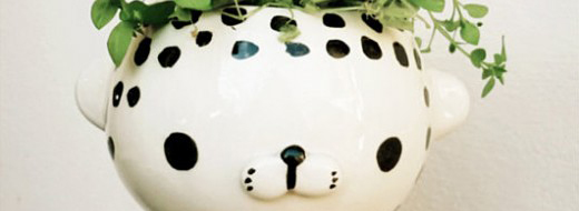 Painted pot by Miriam Brugmann at Etsy