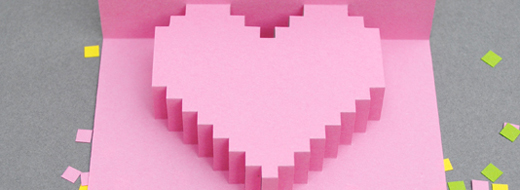 DIY Valentines day pixelated popup card by Mini-eco, http://www.minieco.co.uk/valentines-day-pixely-popup-card/
