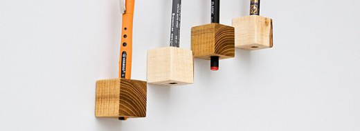 Magnetic Wooden Cubes Pen Holder from Etsy seller Lessandmore