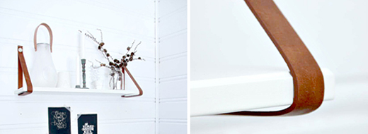 DIY shelf with leather straps by Har en drøm