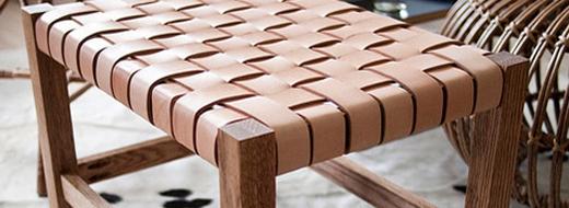 DIY project: Woven leather stool, via Design Sponge