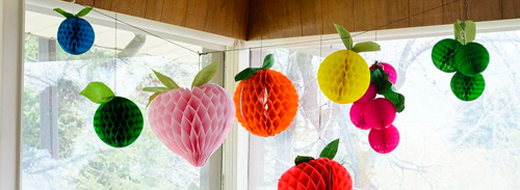 DIY Decoration: Fruit tissue honeycomb balls, by The House That Lars Built