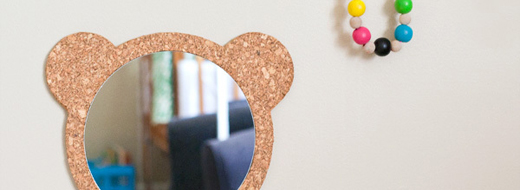 DIY Cork Bear Mirror, by Hellobee