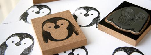 DIY lino print, penguin stamp, by Milo & Ben
