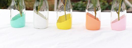 DIY Pastel Dipped Milk Bottle Vases, by Say Yes to Hoboken