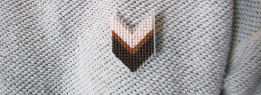 DIY needlepoint pin, from Samantha Ives