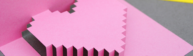 DIY Valentines day pixelated popup card from Mini-eco