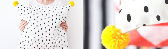DIY polka dot cushion with pompoms, via The Lovely Drawer