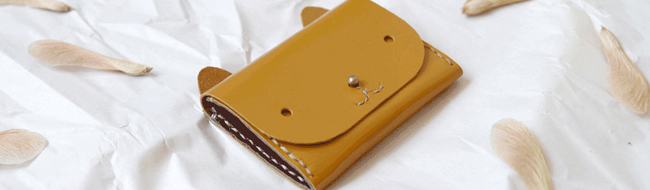 Cat Wallet - mustard yellow simple cardholder