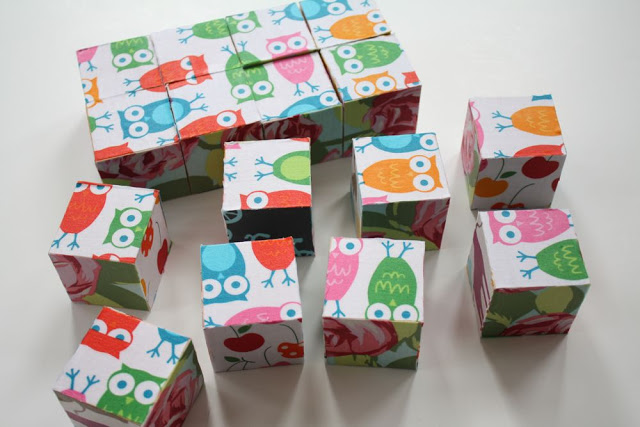 Fabric puzzle blocks, by Craftiness Is Not Optional