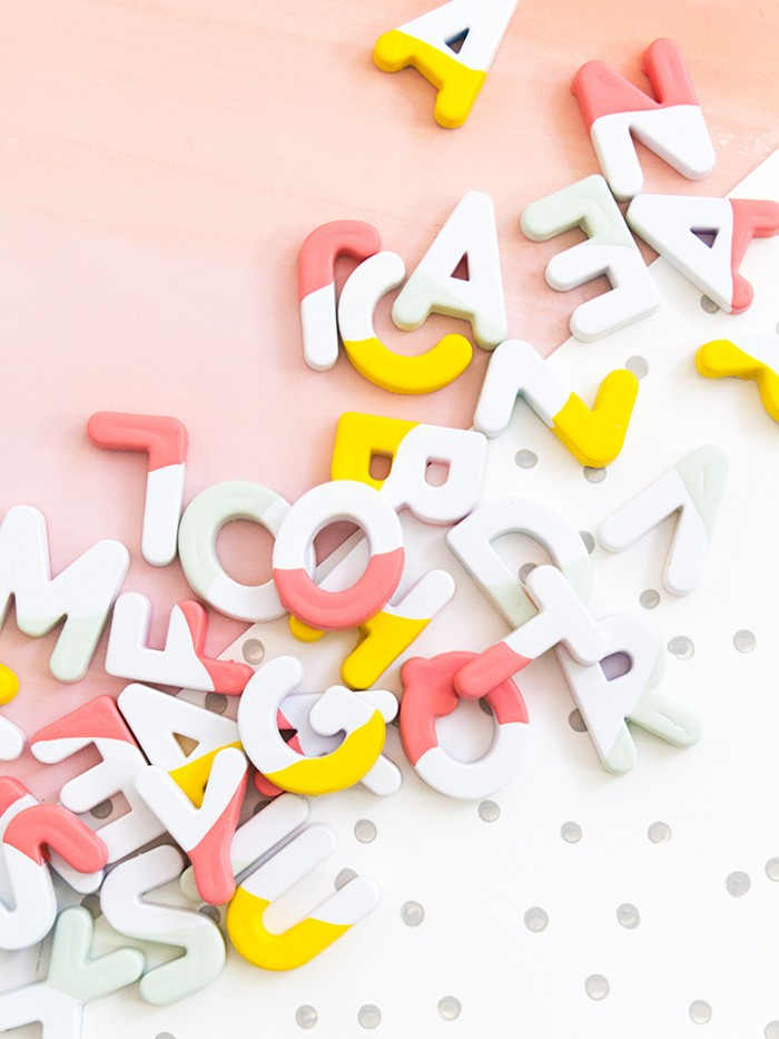 Paint Dipped Alphabet Magnets, by Sara Hearts