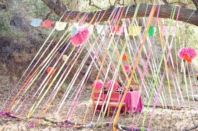 DIY crepe paper tent, via Green Wedding Shoes