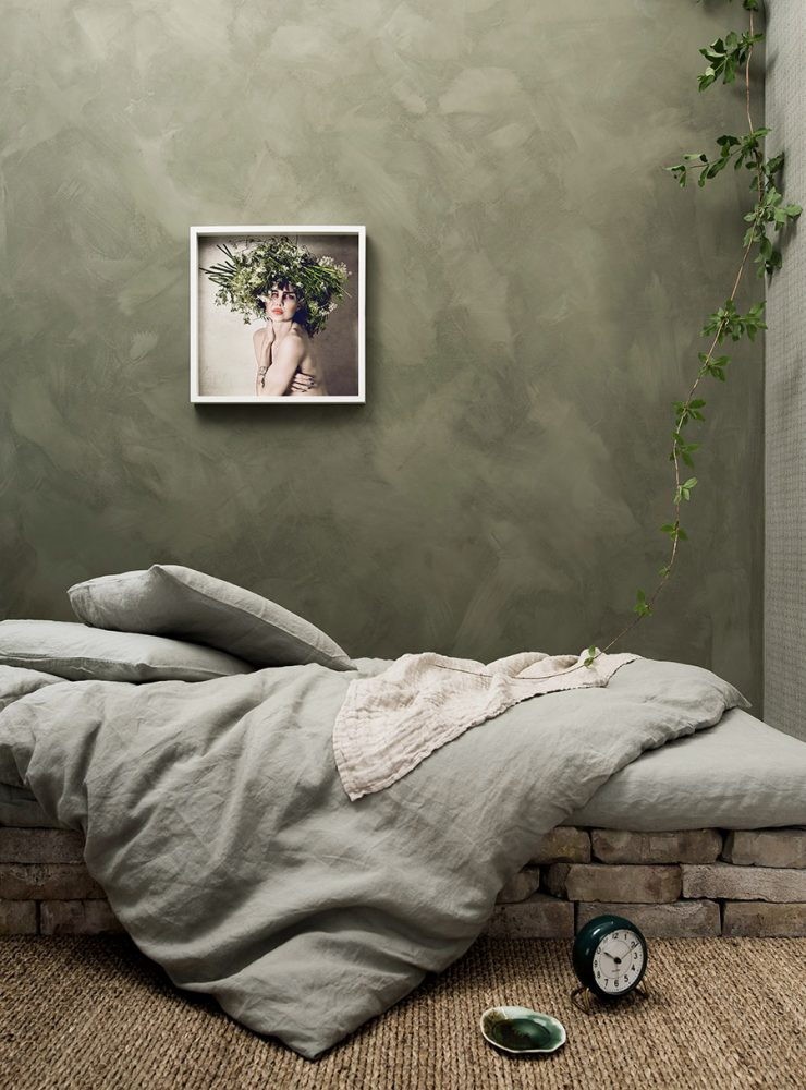 Grön vägg sovrum